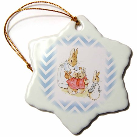 3dRose Image of Peter Rabbit Scene On Blue Chevron Stripes - Snowflake Ornament, 3-inch](Snowflake Scenes)