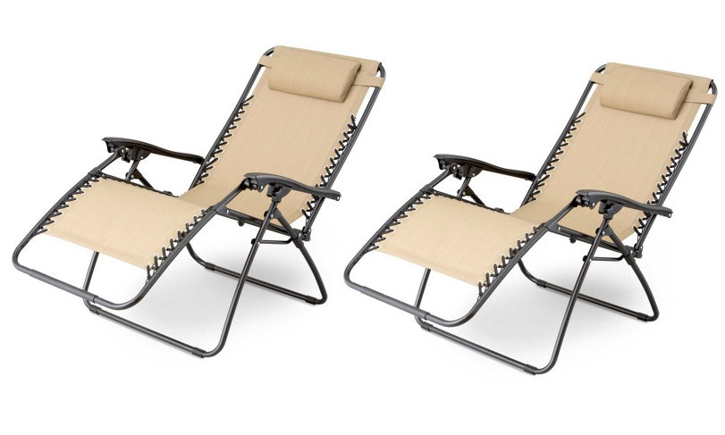 Gravity Chairs Set Of 2 Patio Zero Gravity Chair Folding Lounge with Cup Holder Outdoor Yard Beach - Tan