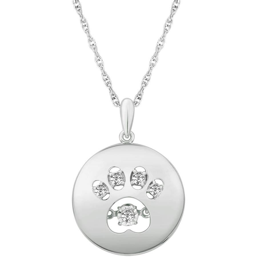 "Carina 1/10 Carat T.W. Diamond Sterling Silver Twinkling Circle Paw Pendant, 18"""