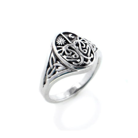Life Celtic Knot - Celtic Trinity Knot Tree of Life with Sun and Moon Sterling Silver Ring