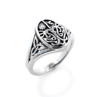 Celtic Trinity Knot Tree of Life with Sun and Moon Sterling Silver (Sun And Moon Best Friend Rings)