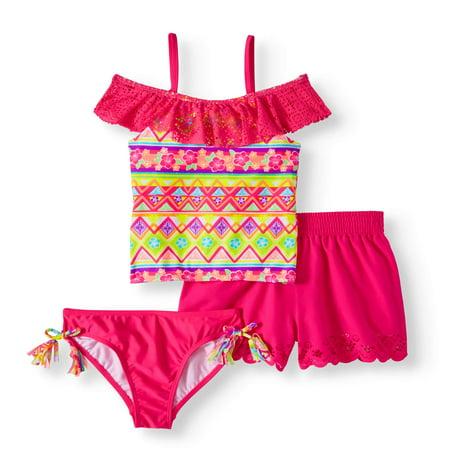 Girls' Ibiza Print 3 Piece Swim - Swim Suit Girls