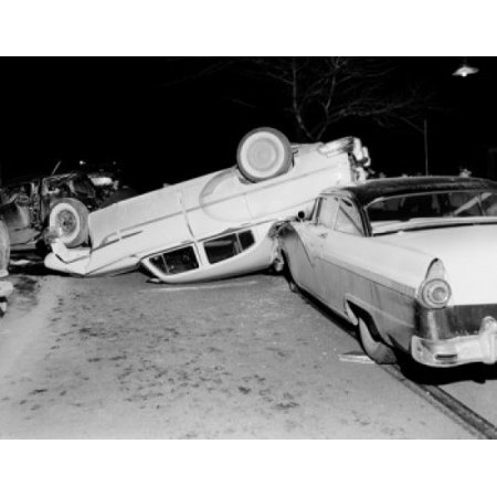 USA Massachusetts Worcester Car crash scene at night Stretched Canvas - (24  x 36)
