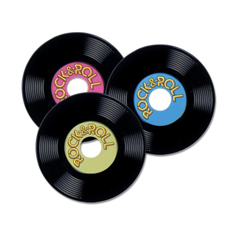 50s Themed Decorations (Pack of 36 Vintage Style 50's Themed Rock & Roll Record Party Decorations)