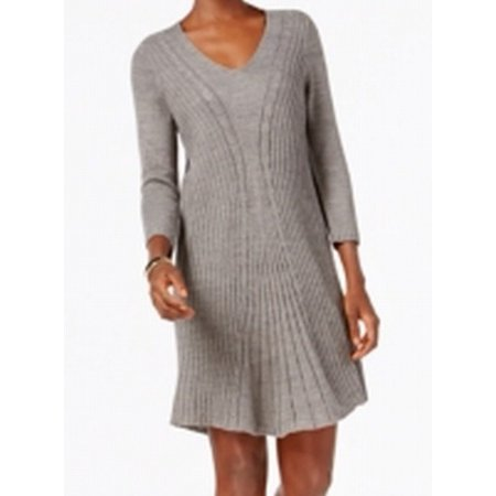 2326072c369 NY Collection - NY Collection NEW Gray Womens Large PL Petite Cable-Knit  Sweater Dress - Walmart.com