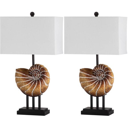 Safavieh Nautilus Shell Table Lamp with CFL Bulb, Light Brown with Off-White Shade, Set of 2