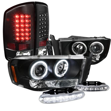 Black Projector - Spec-D Tuning 2002-2005 Dodge Ram, Black Halo Projector Headlights, Black Led Tail Lights, Led Set (Left + Right) 02 03 04 05