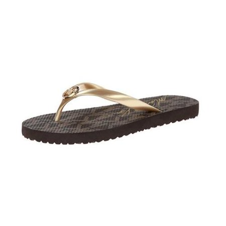Michael Kors Strappy Sandals (Michael Kors PVC Jet Set Logo Flip Flops Sandals, Gold (8M))