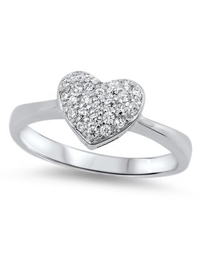 aa4676765d Product Image Clear CZ Heart Micro Pave Love Polished Ring 925 Sterling  Silver Band Size 8