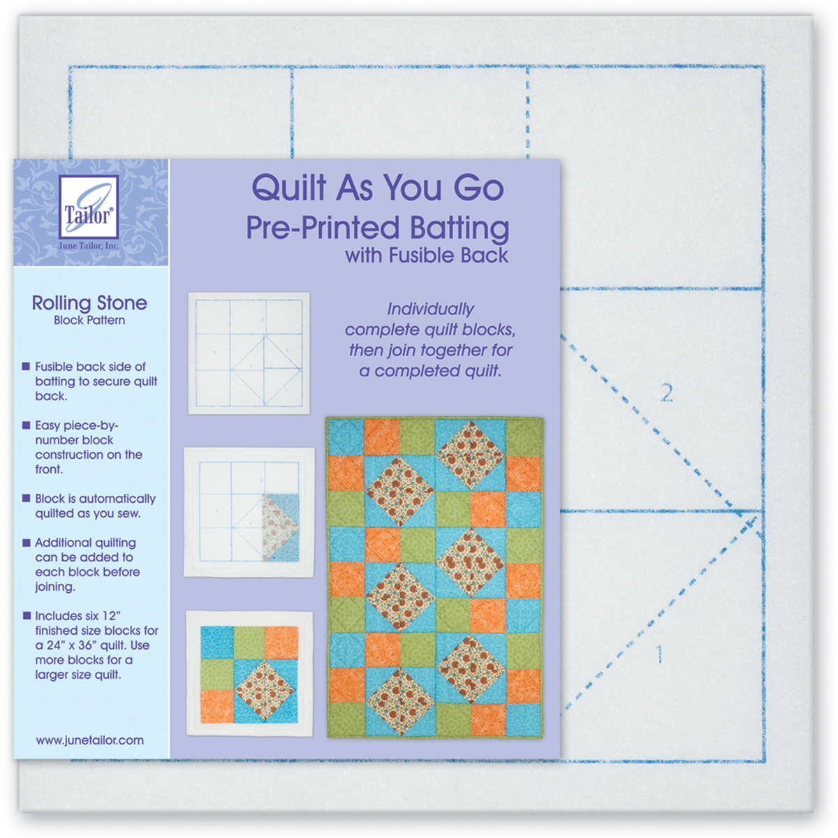 Quilt As You Go Printed Quilt Blocks On Batting-Rolling Stone