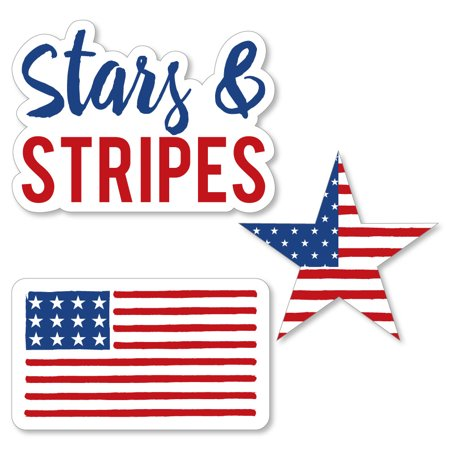 Stars & Stripes - Memorial Day DIY Shaped Patriotic Party Cut-Outs - 24 Count (Decorating For Memorial Day)