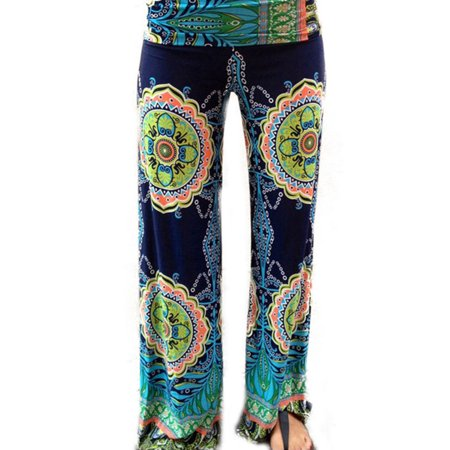 Summer Women Floral Loose Boho Harem Wide Leg Pants Palazzo Yoga Leisure (Best Of Yoga Pants)