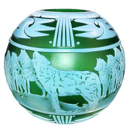 (Fenton Art Glass 2010 Cameo Gallery 04196CJO On the Rocks Cameo Carved Vase in Emerald Green and Topaz Opalescent)