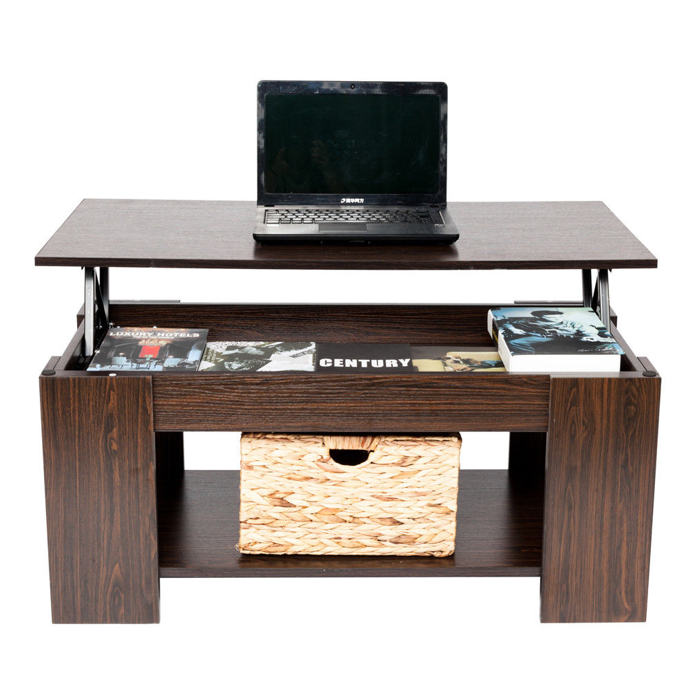 Lift Top Coffee Table With Hidden Storage Compartment: Zimtown Lift Up Top Coffee Table W/Hidden Storage