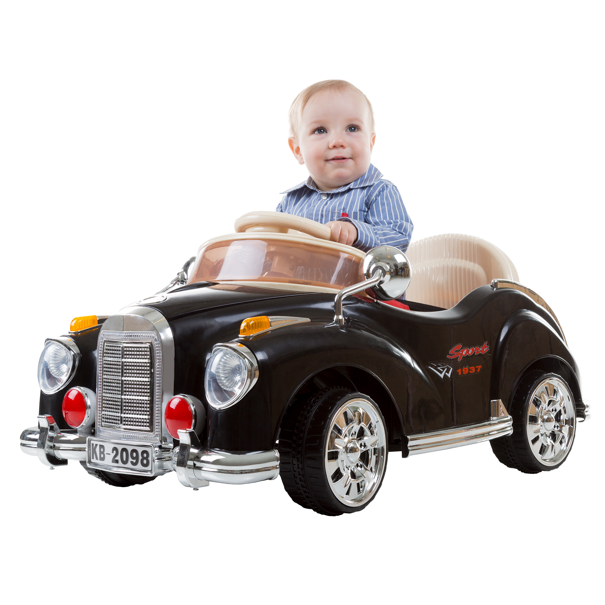 Ride On Toy Car Battery Ed Clic Coupe With Remote Control And Sound By Rockin Rollers Toys For Boys S 3 Year Olds Up Black