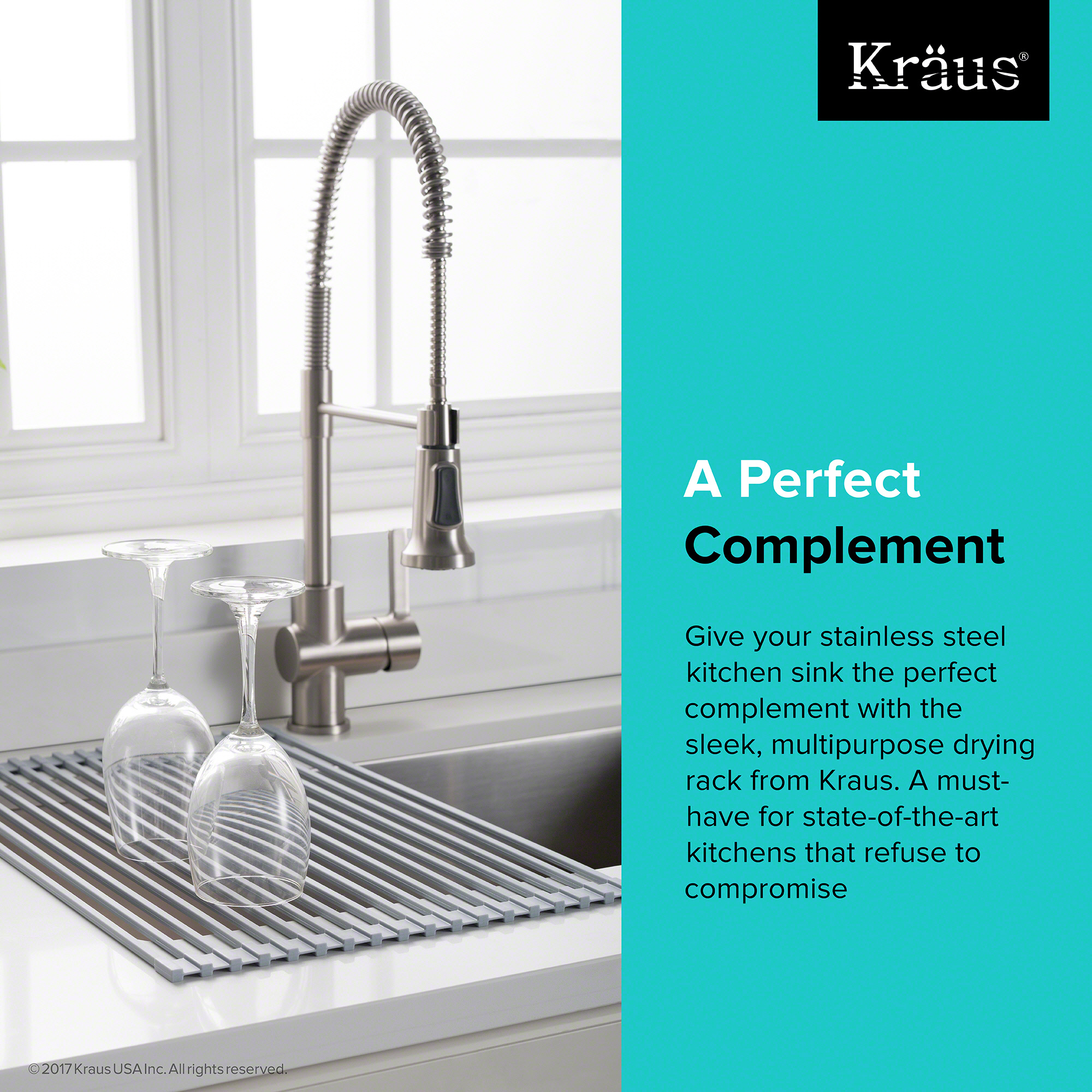 KRAUS Multipurpose Over Sink Roll-Up Dish Drying Rack in Black ...