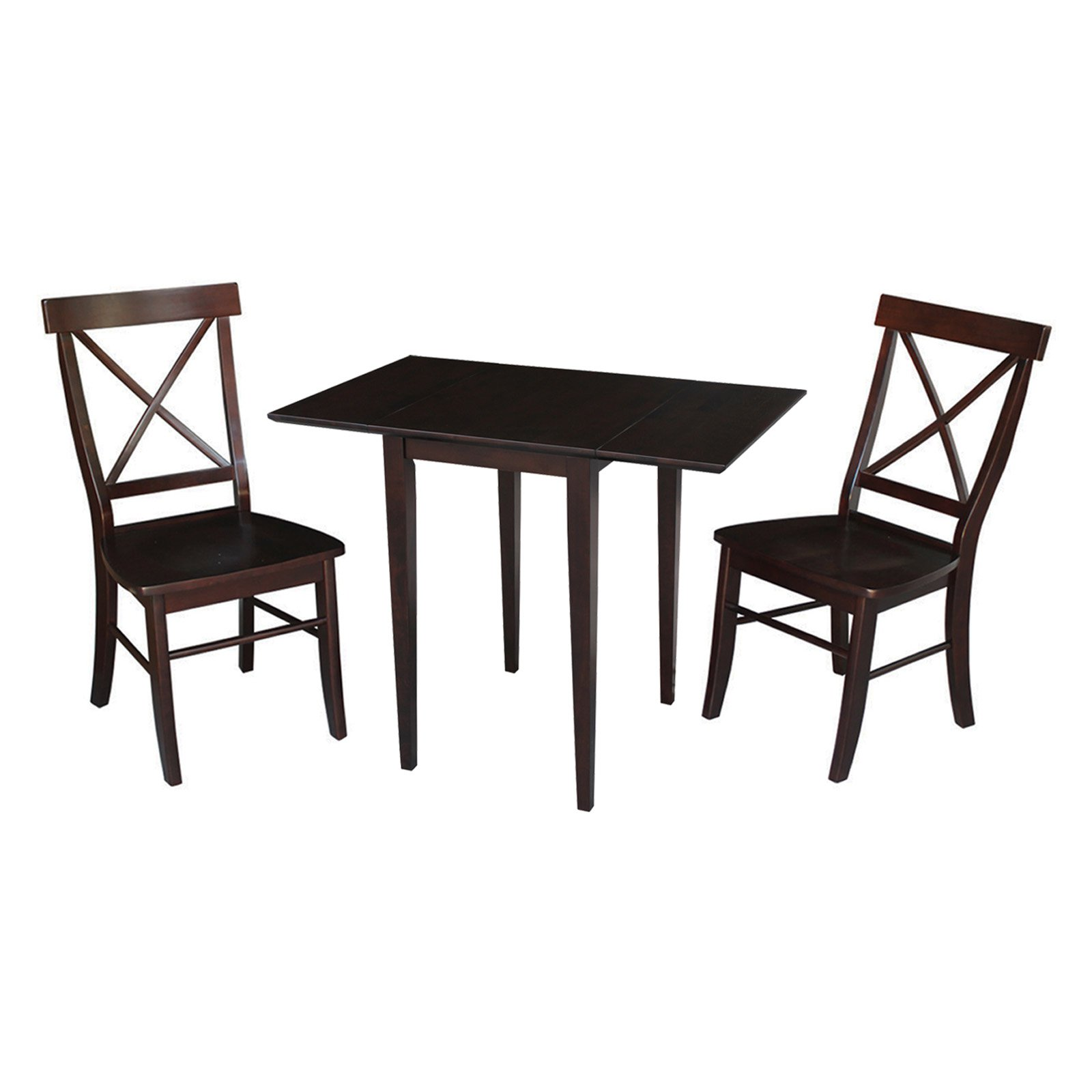 Small Dual Drop Leaf Table and 2 X-back Chairs in Rich Mocha - Set of 3