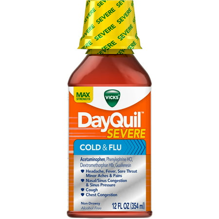 Vicks DayQuil Severe Cold and Flu, Liquid, 12 FL OZ (Pack of (Dayquil Liquid)