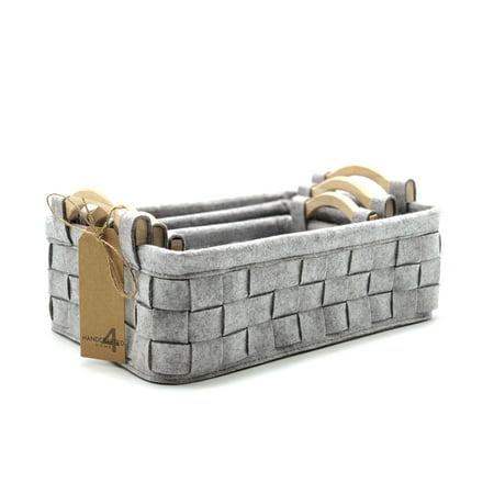 Handcrafted 4 Home Wood Handle Felt Nesting Baskets, Grey (Set of 3)