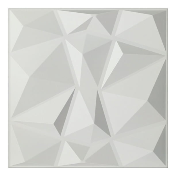 Art3d White Diamond Design 19 7 In X 19 7 In Pvc 3d Wall Panel 12 Pack Walmart Com Walmart Com