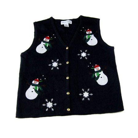 Ugly Sweater Vest (XVEST-2122 - Black - Ugly Christmas Sweater Vest - Ladies -)