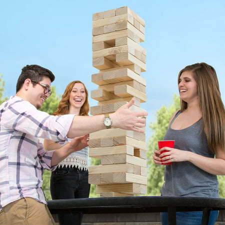 Classic Giant Wooden Blocks Tower Stacking Game, Outdoors Yard Game, For Adults,...