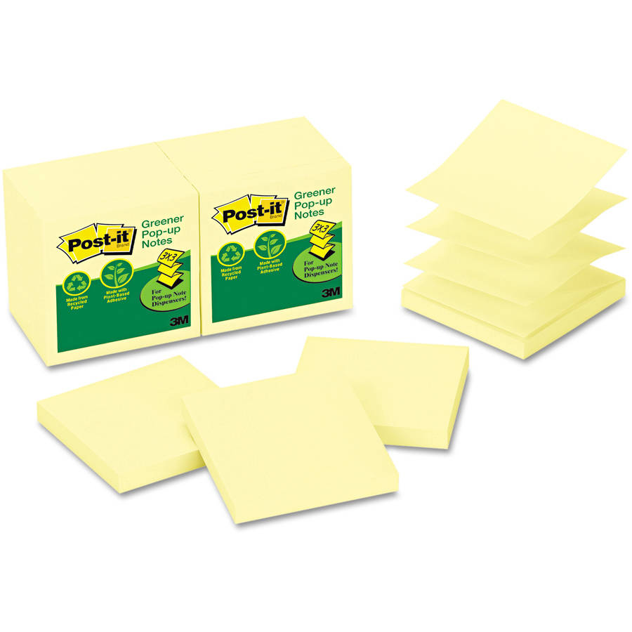"""Post-it Pop-up Notes, 3"""" x 3"""", Canary Yellow"""