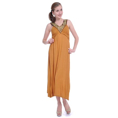 Princess Bodice - Anna-Kaci S/M Yellow Exotic Princess Empire Waist Pleated Bodice Studded Dress