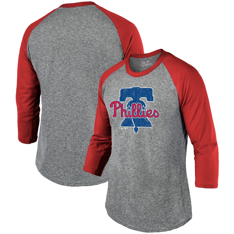 Philadelphia Phillies Majestic Threads Current Logo 3/4-Sleeve Raglan T-Shirt - Heathered Gray/Red
