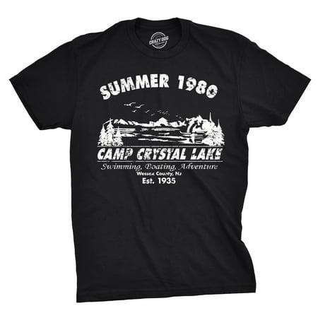 Mens Summer 1980 Mens Funny T shirts Camping Shirt Vintage Horror Novelty Tees Blues 1980 Vintage Jersey