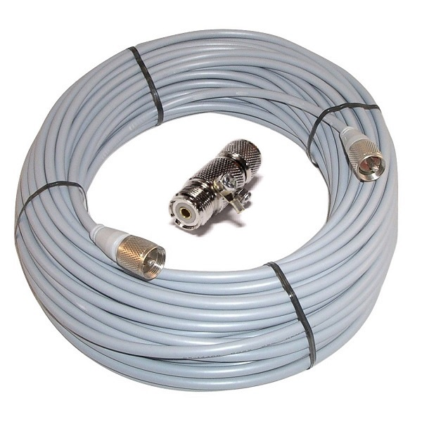 100 ft RG8X COAX CABLE CB / Ham Radio Workman 8X-100-PL-PL /W Lightning Arrestor