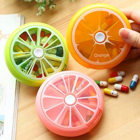 ZeAofa7 Days Pill Storage Weekly Fruit Round Boxes Medicine Organizer Container