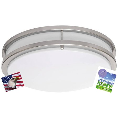iLett LED Flush Mount Fixture Ceiling Light, Brushed Nickel, 12