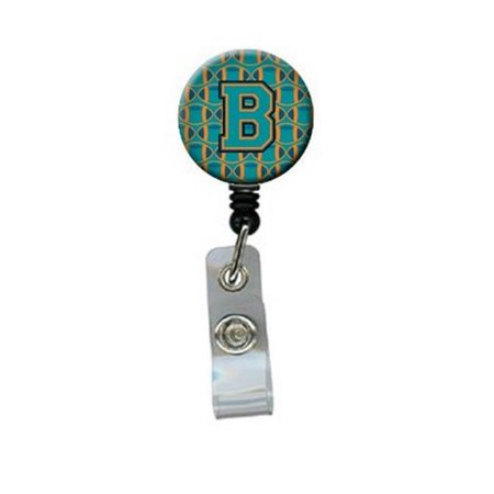 Carolines Treasures CJ1063-BBR Letter B Football Aqua, Orange & Marine Blue Retractable Badge Reel - image 1 of 1