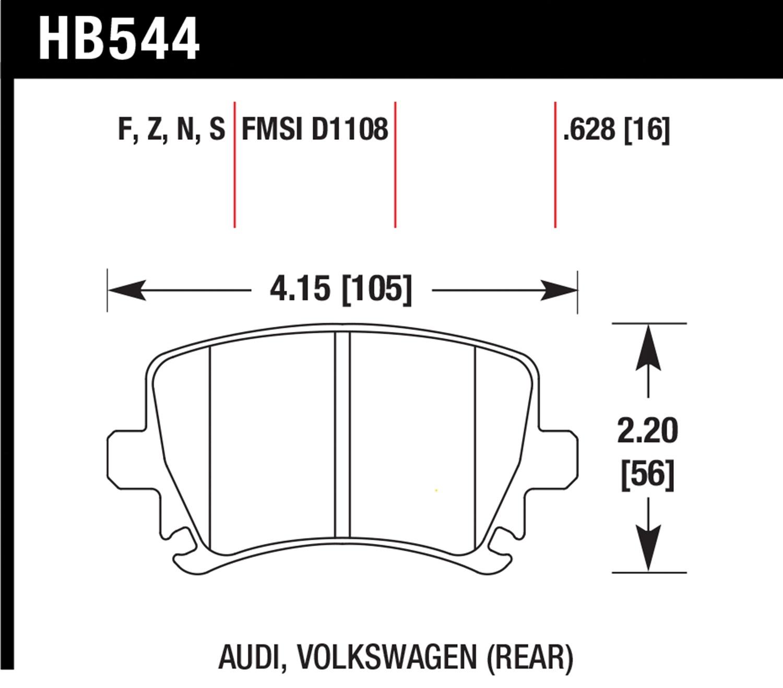 Hawk Performance Hb544z628 Brake Pad Diagram