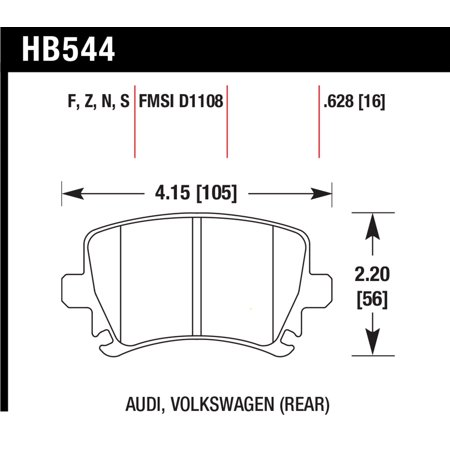 Hawk Audi A3 / A4 / A6 Quattro HPS Rear Brake Pads