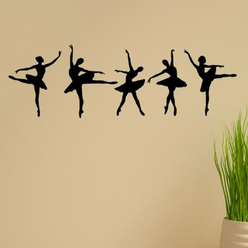 'Ballerina Dancers' Vinyl Wall Graphic Decal (Set of 5) Hot Pink