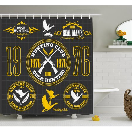 Hunting Shower Curtain Vintage Club Emblem From 1976 Logo Hobby Of Duck Themed Labels