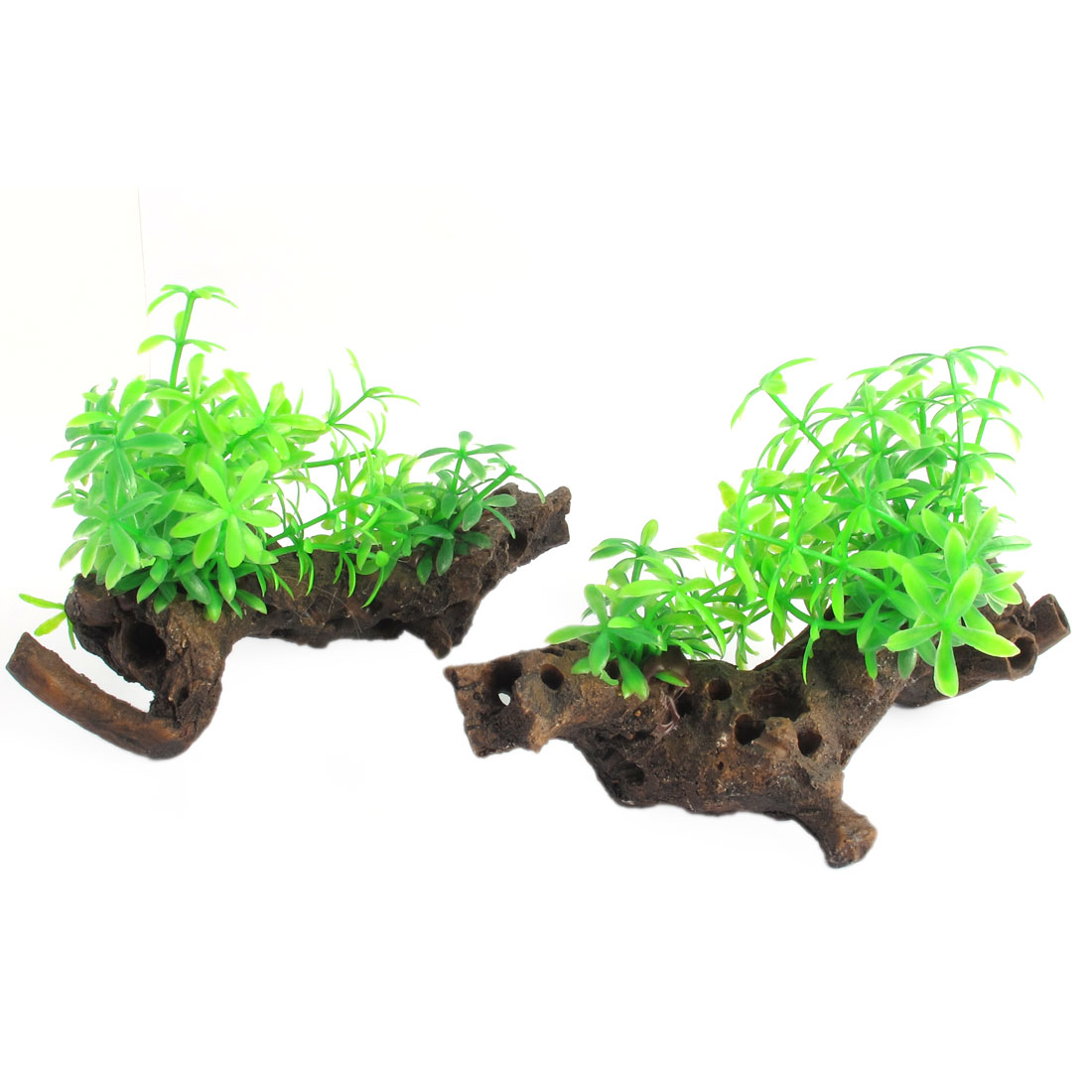 2Pcs Aquarium Fish Tank Emulation Grass Driftwood Decor Green Brown 10cm High