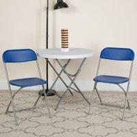Flash Furniture 2 Pk. HERCULES Series 650 lb. Capacity Premium Blue Plastic Folding Chair