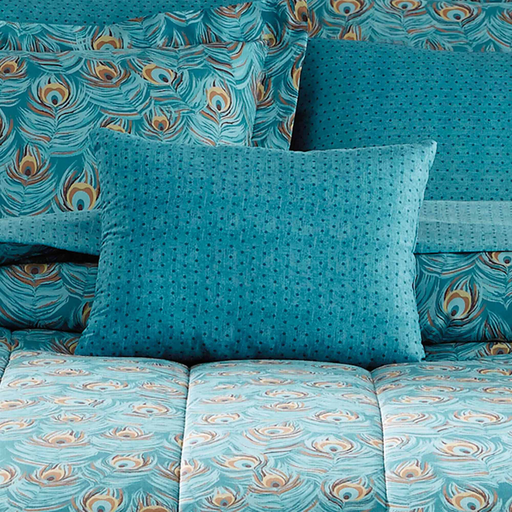 Peacock bedroom set - Mainstays Bed In A Bag Bedding Comforter Set Peacock Feather Walmart Com