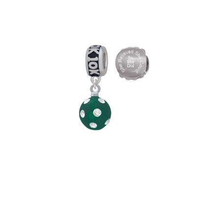 Silvertone 3-D Frosted Green Resin Ornament with Crystals 10K Run She Believed She Could Charm Beads (Set of 2)