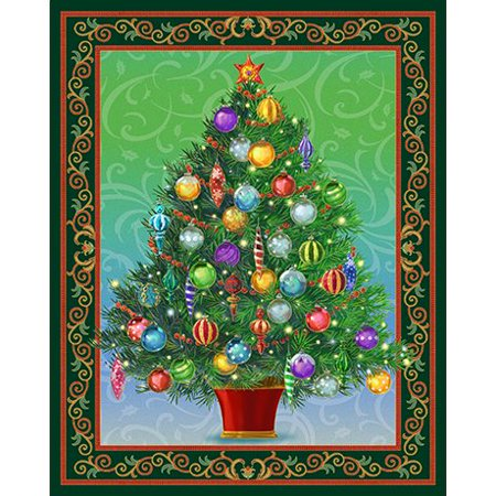 holiday treasures christmas tree panel with twinkle lightscotton fabric by quilting treasures