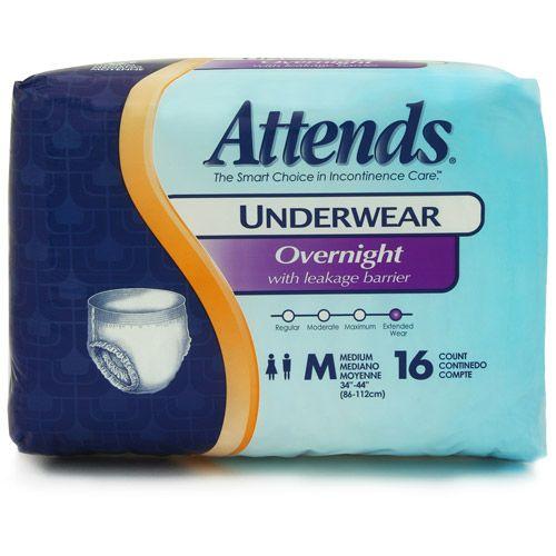 Attends Overnight Protective Underwear CS/64 ''Medium, 34 - 44 , Case of 64''