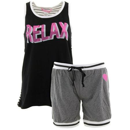 Love Loungewear Juniors Relax Black Gray Short Pajamas