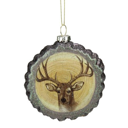 "Kurt S. Adler 4.25"" Rustic Glittered Tree Stump Reindeer Glass Christmas Ornament - Brown/Black"