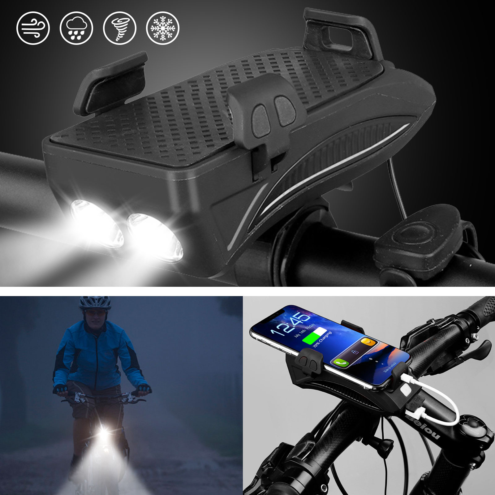 4 in1 Outdoor Bike Bicycle Light Waterproof with Horn Phone Holder Power Bank