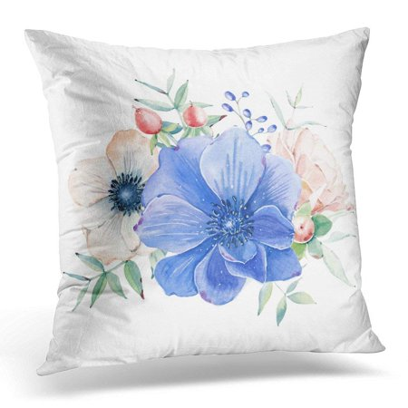 ARHOME White Boho Elegant Watercolor Flower Composition It is Perfect for Wedding and Birthday Valentines Date Throw Pillow Case Pillow Cover Sofa Home Decor 16x16 Inches