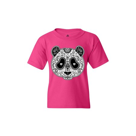Shop4Ever Youth Skull Panda Day of the Dead Graphic Youth T-Shirt (Panda Suits For Sale)