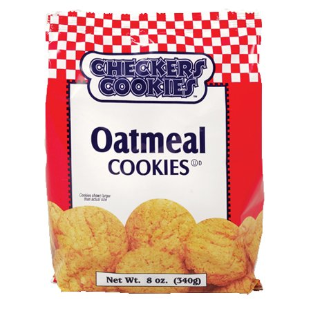 Checkers Cookie, Oatmeal Cookie, 8 oz, 12 Ct